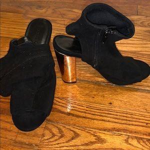 Velvet opened toe heels